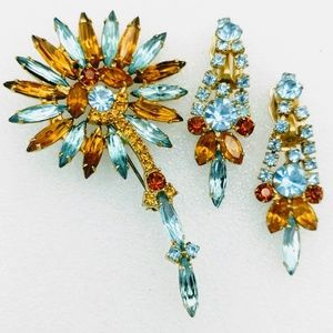 Juliana Rhinestone Flower Brooch & Earrings Set